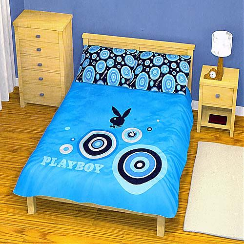 manchester and bedding playboy blue king size quilt doona cover set